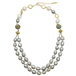 Double Stranded Grey Pearl and Turquoise Inlaid Bead Necklace - Shopidpearl