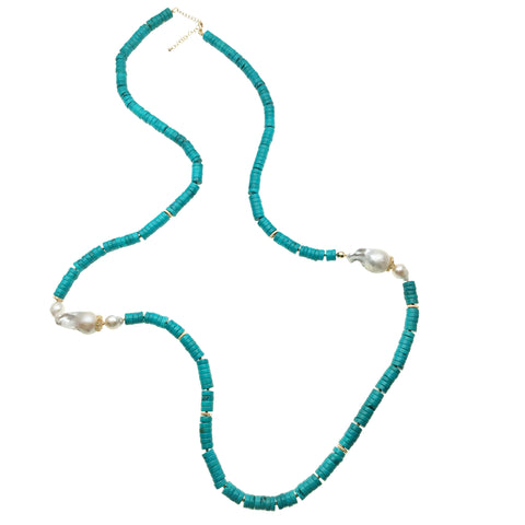 Baroque Pearl and Turquoise Disks Necklace - Shopidpearl