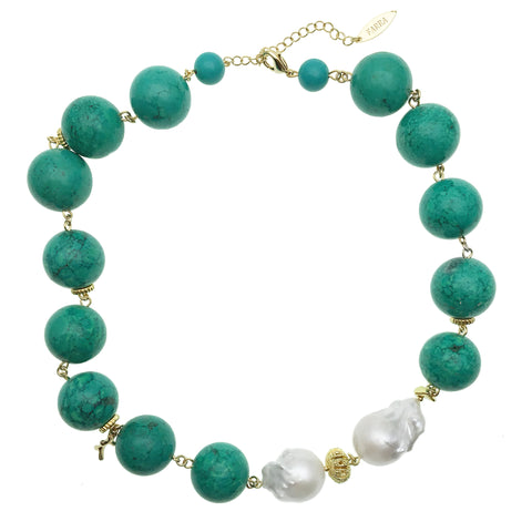 Baroque Pearl and Turquoise Choker Necklace - Shopidpearl