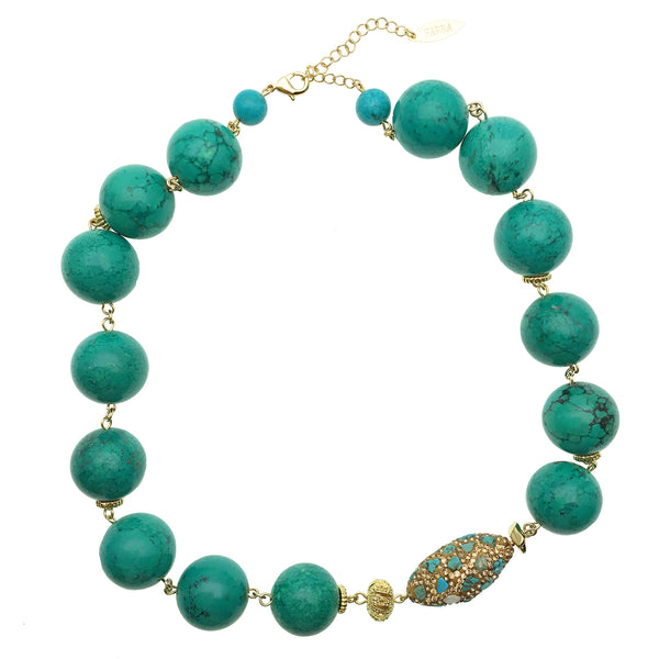 Turquoise with Turquoise Inlaid Bead Necklace - Shopidpearl