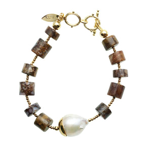 Fire Opal and Baroque Pearl Bracelet - Shopidpearl