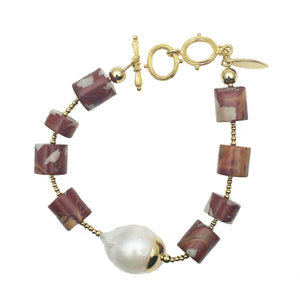 Noreena Jasper and Baroque Pearl Bracelet - Shopidpearl