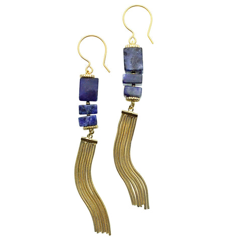 Sodalite and Gold Tassel Earrings - Shopidpearl