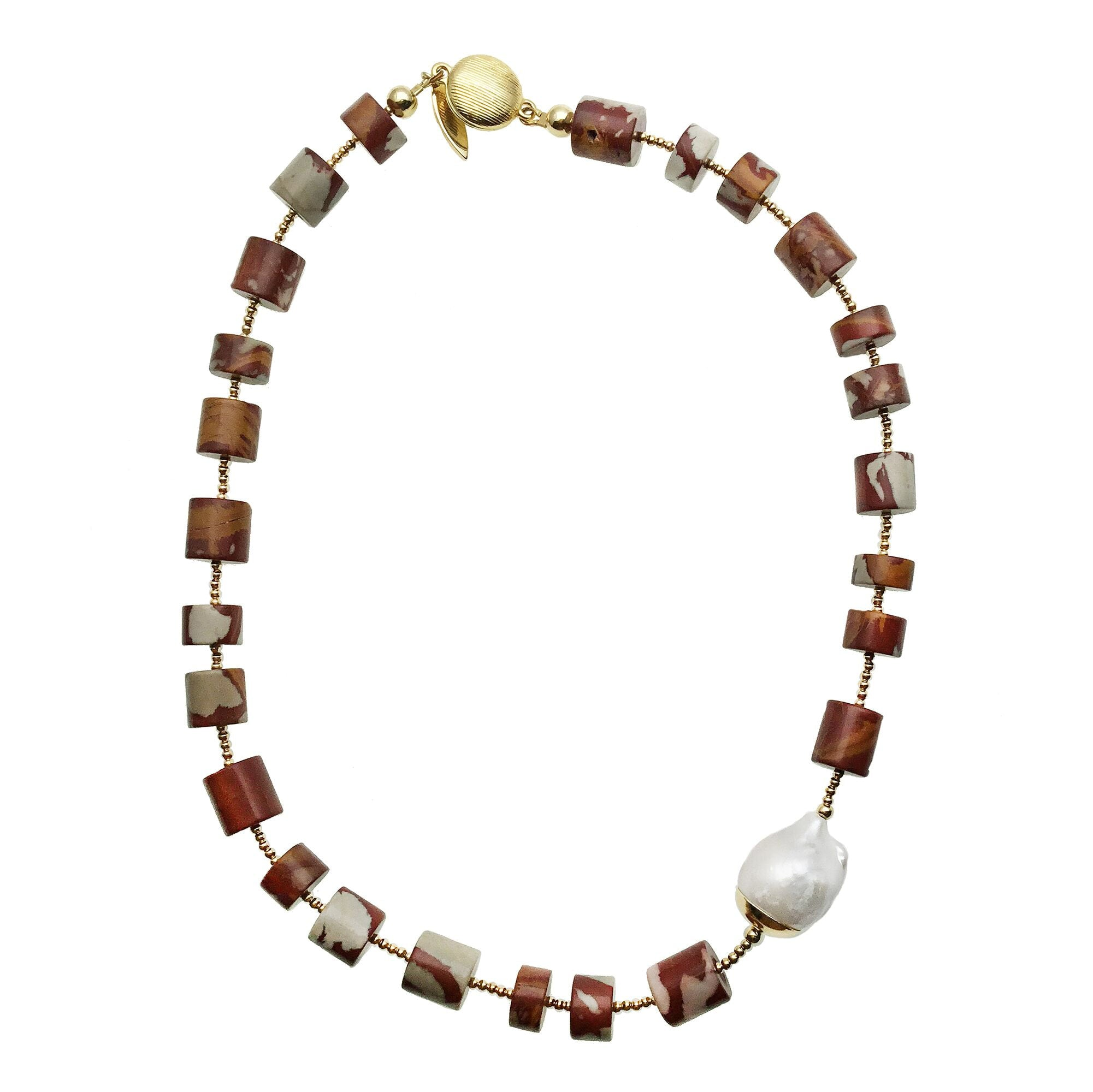 Noreena Jasper and Baroque Pearl Necklace - shop idPearl