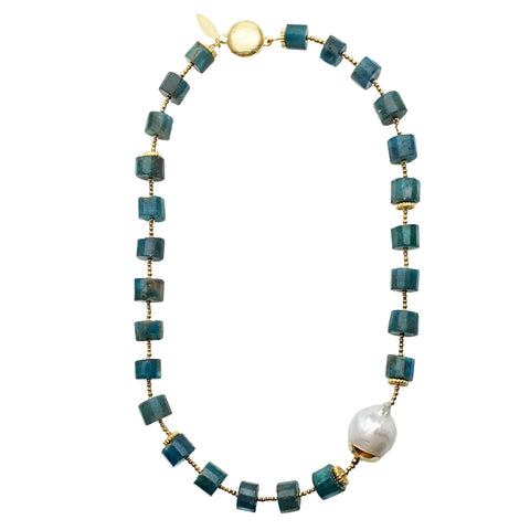 Blue Apatite and Baroque Pearl Necklace - Shopidpearl