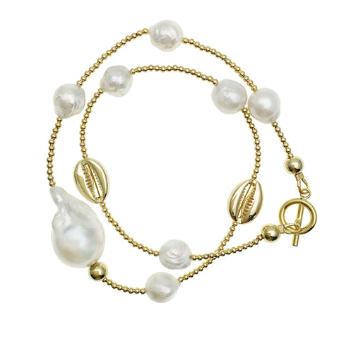 Double Wrap Baroque Pearl and Gold Shell Bracelet - Shopidpearl
