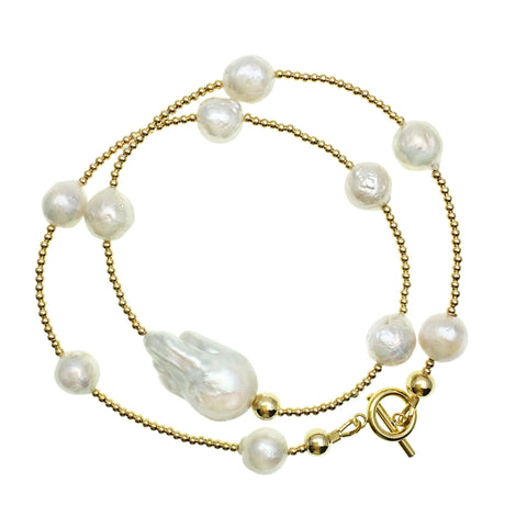 Double Wrap Baroque Pearl and Gold Beads Bracelet - Shopidpearl