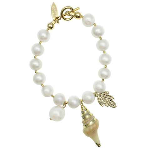 Pearl and Shell Charm Bracelet - shop idPearl