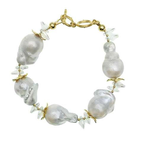 Grey Baroque Pearl and Clear Crystal Bracelet - Shopidpearl