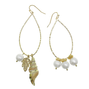 Pearl and Shell Charm Earrings - Shopidpearl