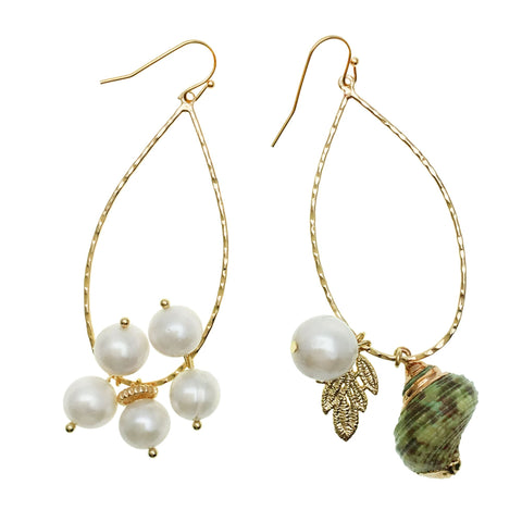 Pearl and Green Shell Charm Earrings - shop idPearl