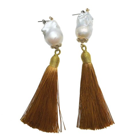 Baroque Pearl and Gold Tassel Earrings - shop idPearl
