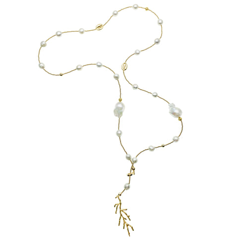 Long Baroque Pearl and Gold Coral Charm Necklace - Shopidpearl