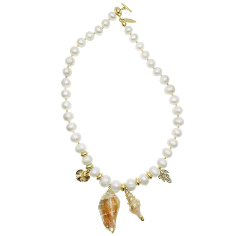 Pearl and Shell Charm Necklace - Shopidpearl