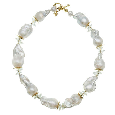 White Baroque Pearl and Clear Crystal Necklace - Shopidpearl