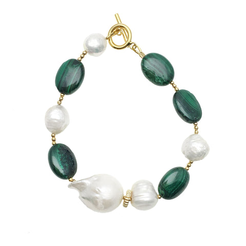 Baroque Pearl and Malachite Bracelet - Shopidpearl