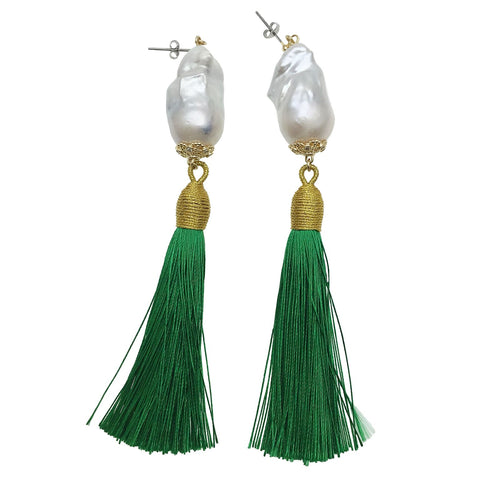 Baroque Pearl and Green Tassel Earrings - shop idPearl