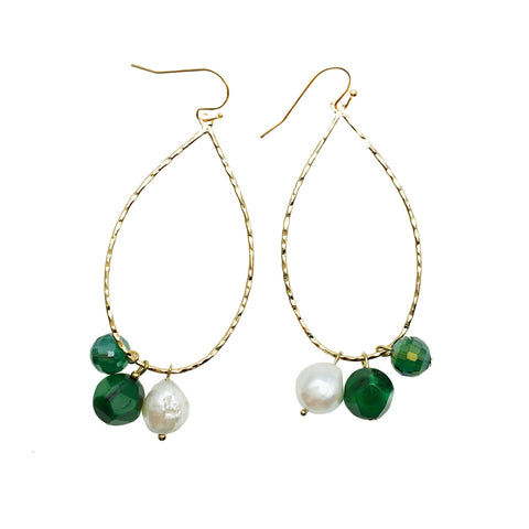 Pearl and Malachite Hoop Earrings - Shopidpearl