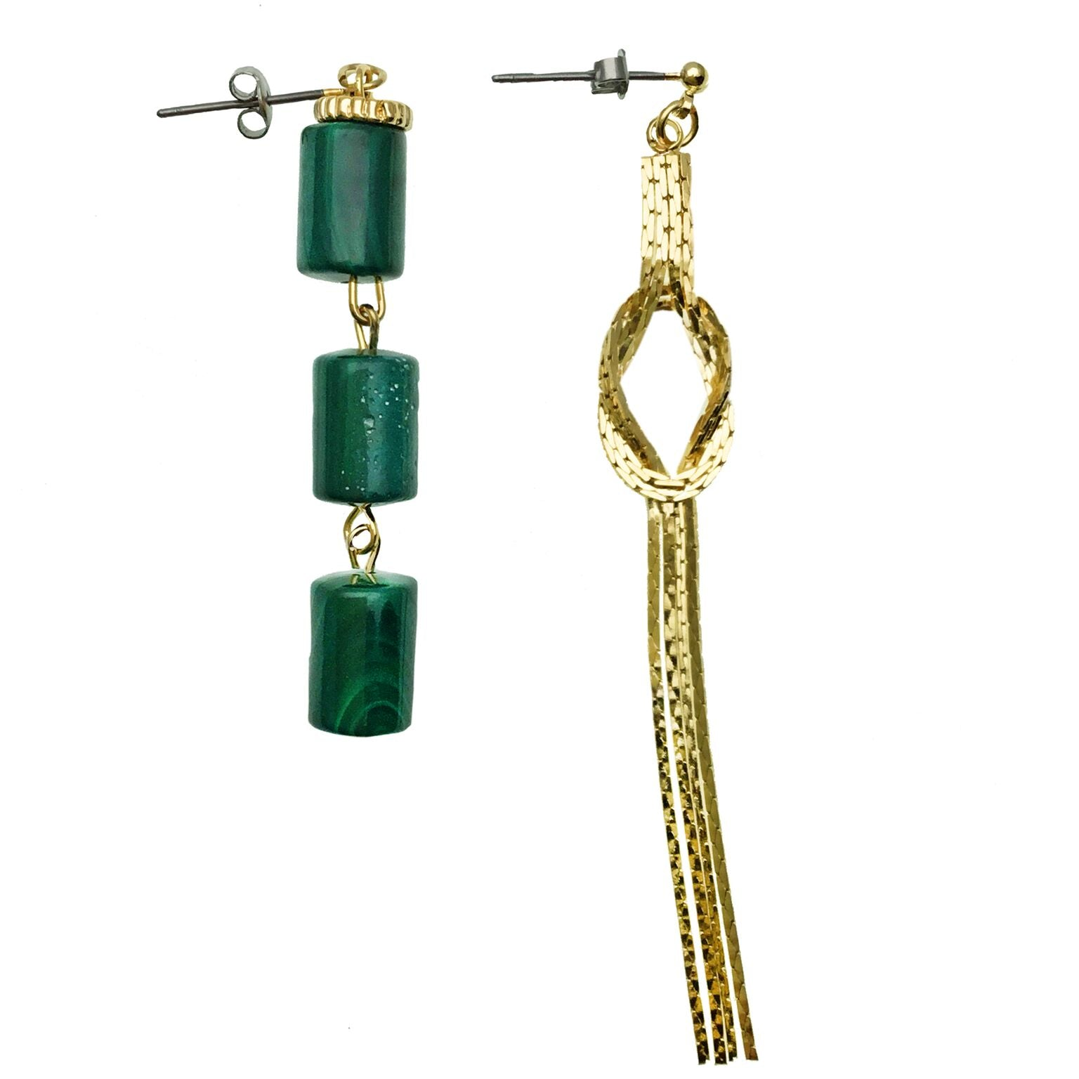 Asymmetrical Malachite and Gold Fringe Earrings - Shopidpearl