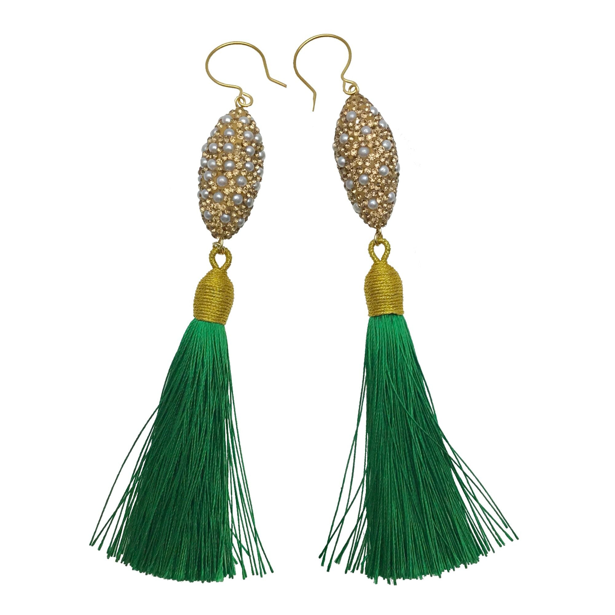 Pearl Inlaid Charm and Green Tassel Earrings - Shopidpearl