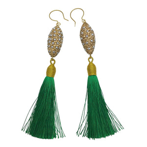 Pearl Inlaid Bead and Green Tassel Earrings - Shopidpearl