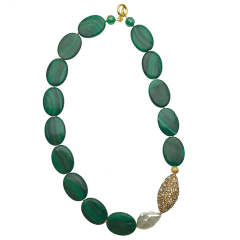 Pearl Inlaid Bead and Malachite Necklace - Shopidpearl