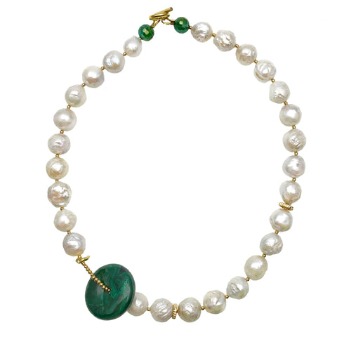 Pearl and Malachite Disk Necklace - shop idPearl