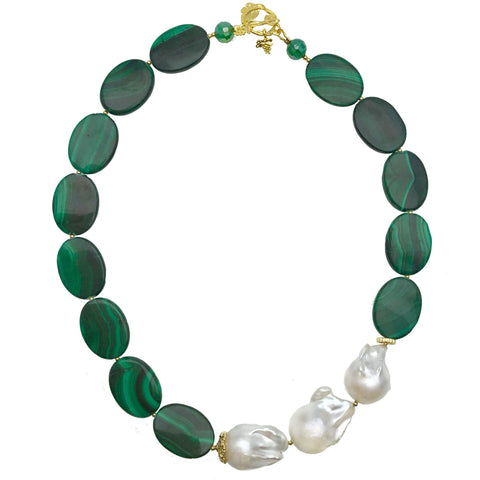 Baroque Pearl and Malachite Oval Necklace - Shopidpearl