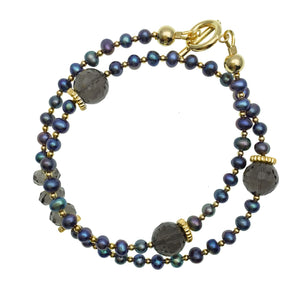 Double Wrap Blue Pearl and Smokey Quartz Bracelet - shop idPearl