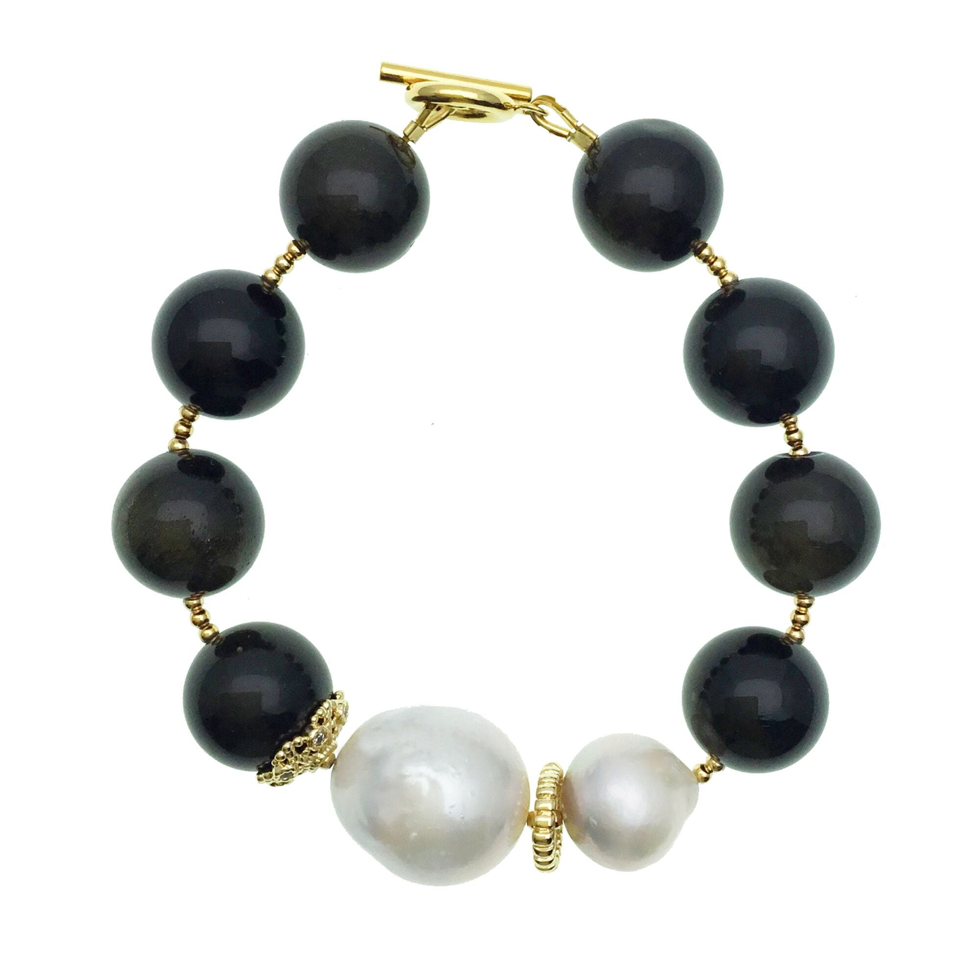Baroque Pearl and Black Tiger Eye Bracelet - Shopidpearl