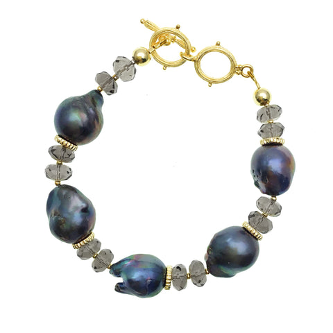 Blue Baroque Pearl and Smoky Quartz Bracelet - Shopidpearl
