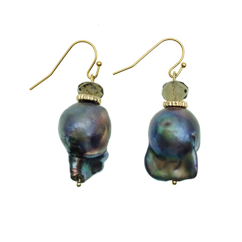 Purple Baroque Pearl and Smoky Quartz Earrings - Shopidpearl