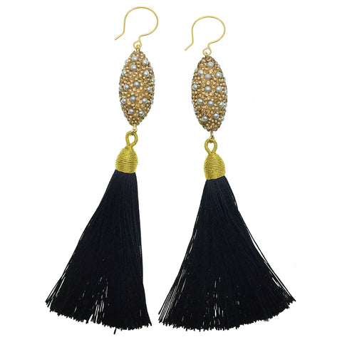 Inlaid Pearl Charm and Black Tassel Earrings - Shopidpearl
