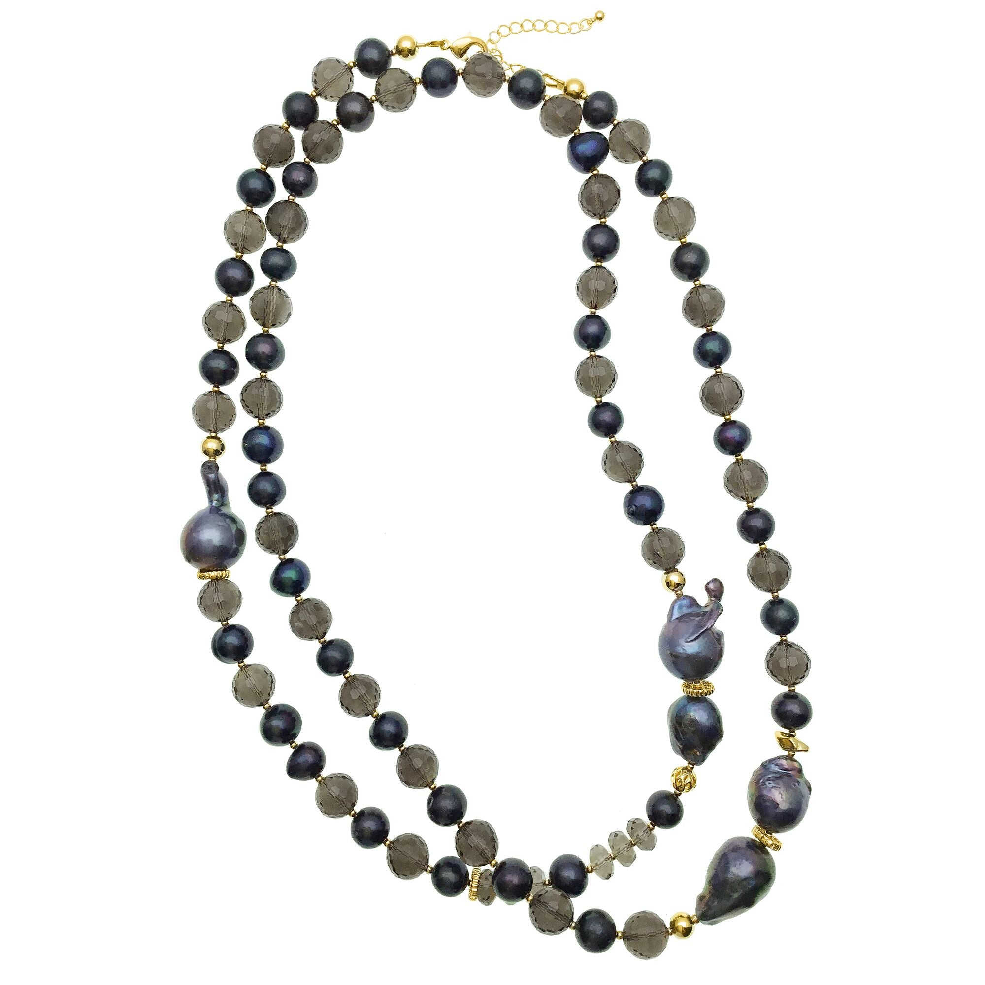 Long Blue Baroque Pearl and Smoky Quartz Necklace - Shopidpearl