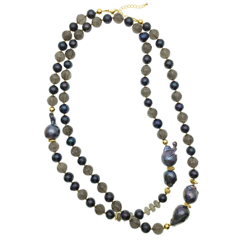 Long Purple Baroque Pearl and Smoky Quartz Necklace - Shopidpearl