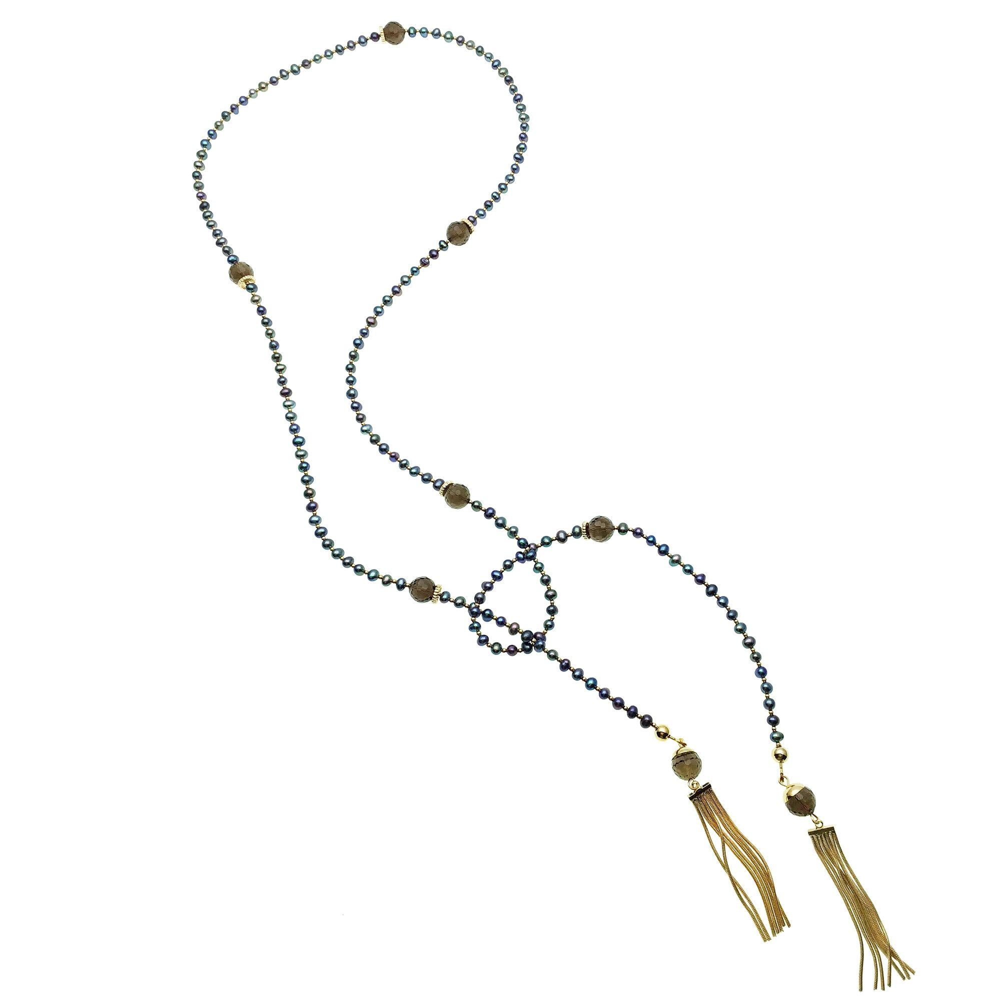 Blue Pearl, Smoky Quartz and Gold Tassel Necklace - shop idPearl