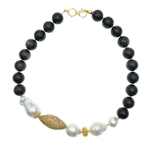 Baroque Pearl, Black Tiger eye and Pearl Inlaid Bead Necklace - Shopidpearl