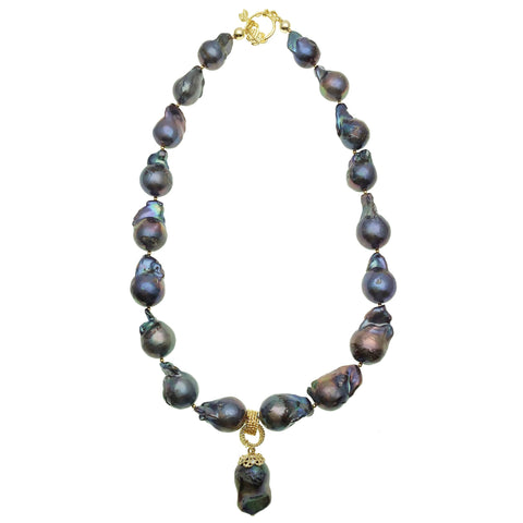 Blue Baroque Pearl Necklace - shop idPearl