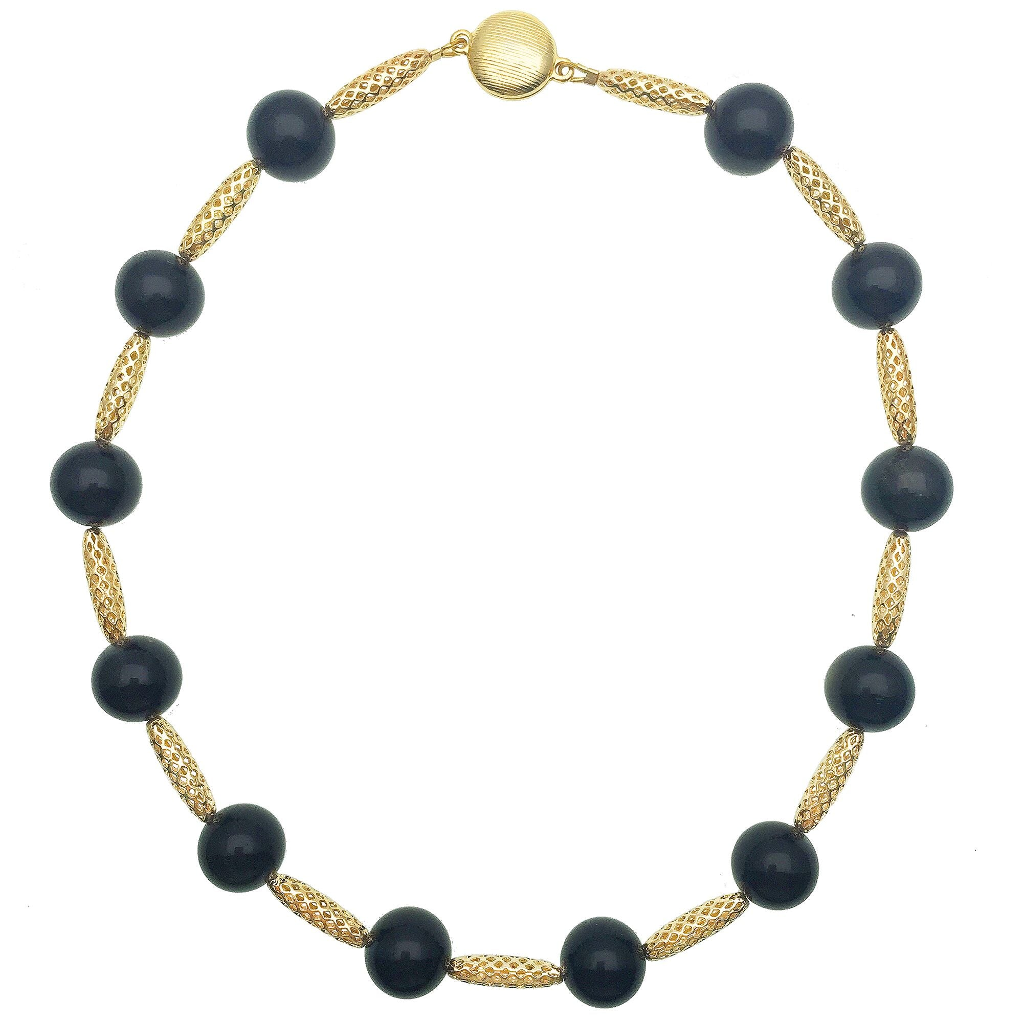 Black Tiger Eye and Gold Bead Necklace - Shopidpearl