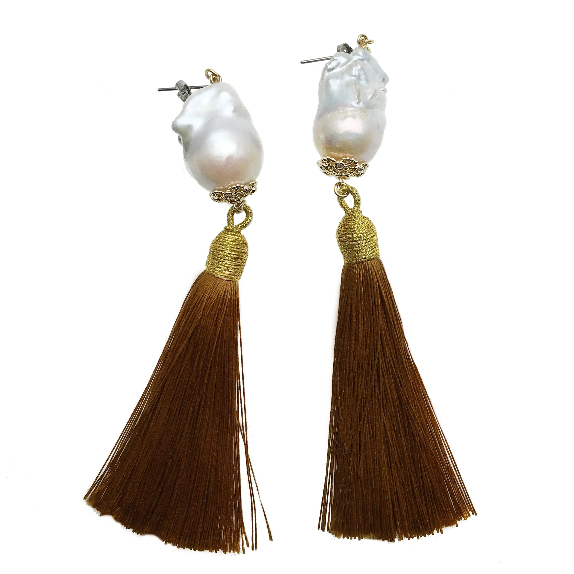 Baroque Pearl and Brown Tassel Earrings - shop idPearl