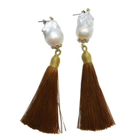 Baroque Pearl and Brown Tassel Earrings - Shopidpearl