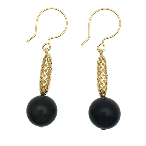 Black Tiger Eye and Gold Charm Earrings - shop idPearl