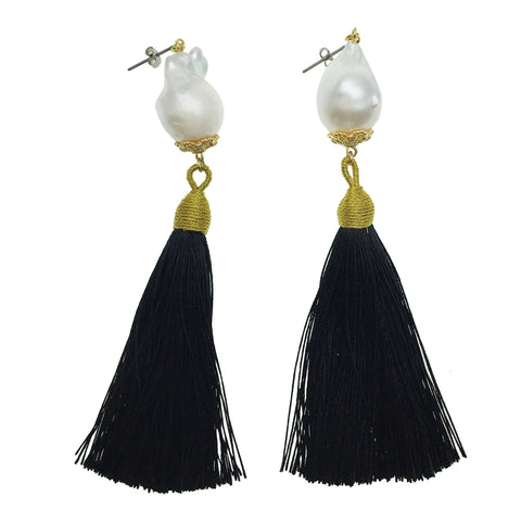 Baroque Pearl and Black Tassel Earrings - Shopidpearl