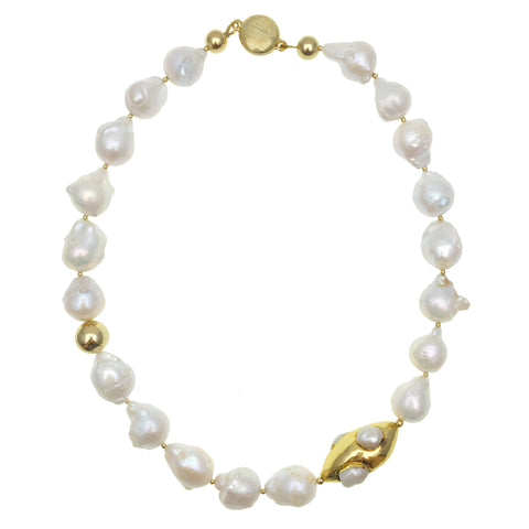 Baroque White Pearls with Pearl Inlaid Gold Bead Necklace - shop idPearl