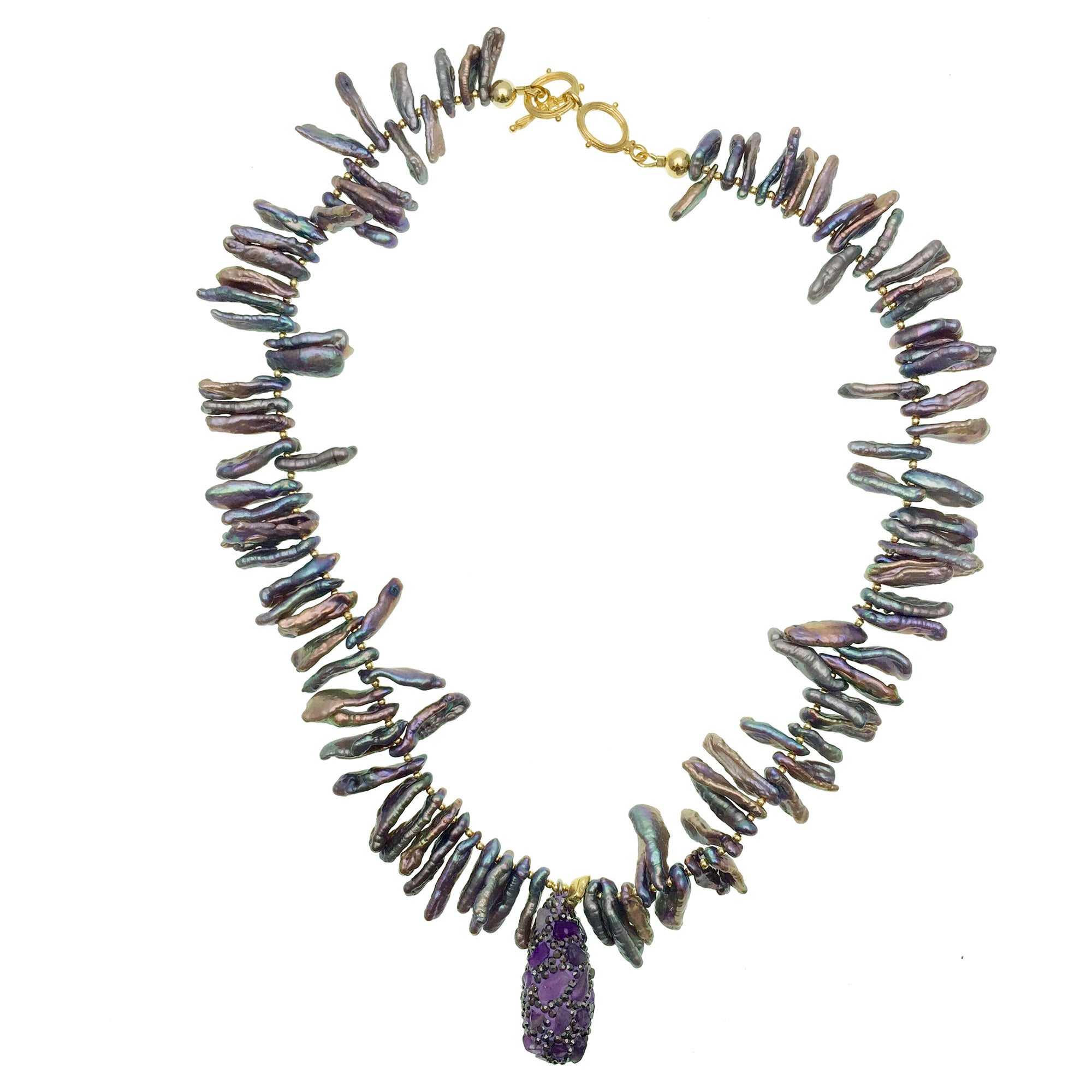 Freeform Purple Pearls with Inlaid Charm Necklace - Shopidpearl