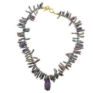 Freeform Purple Pearls with Inlaid Charm Necklace - shop idPearl