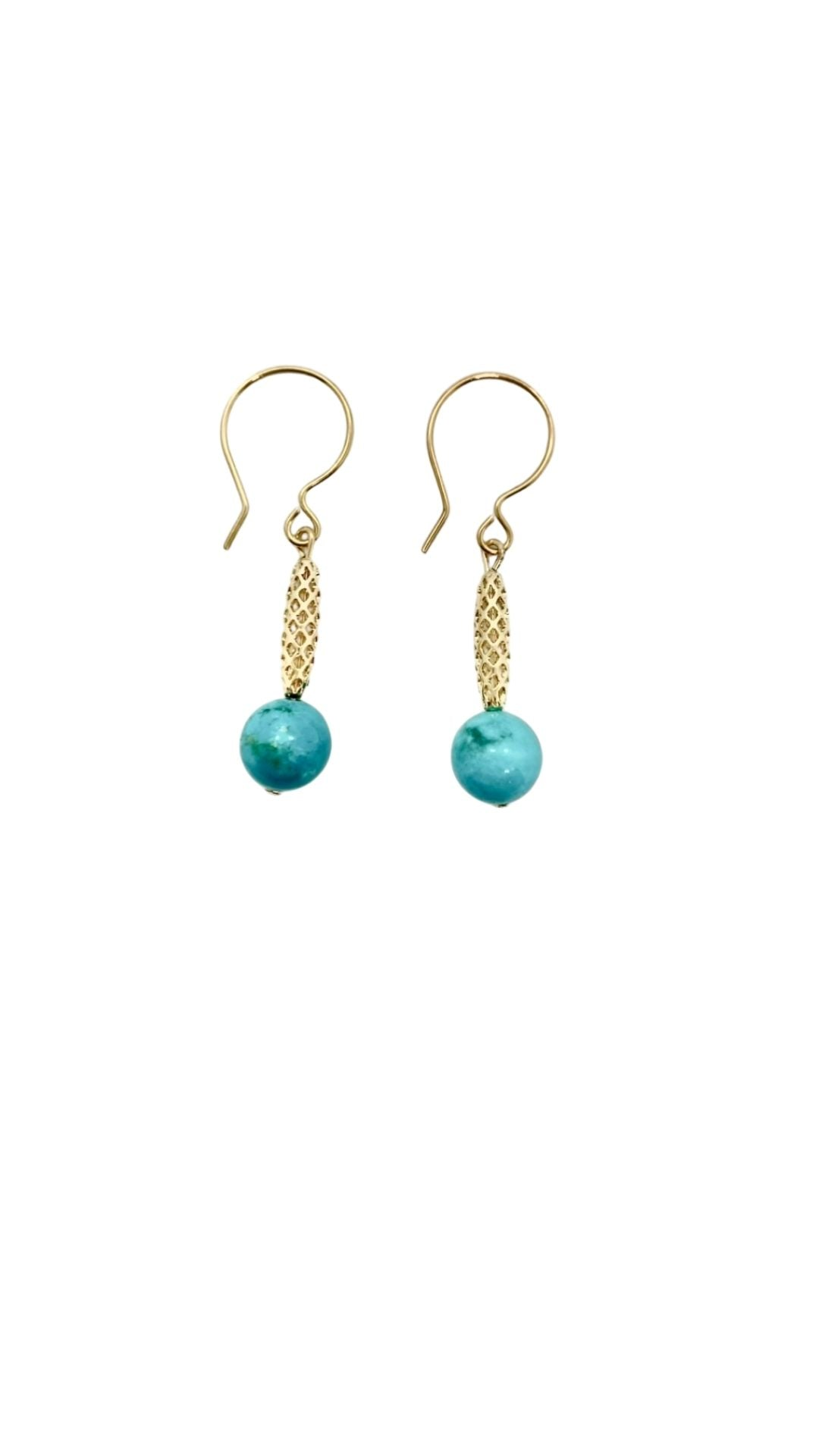 Turquoise and Gold Charm Earrings - Shopidpearl