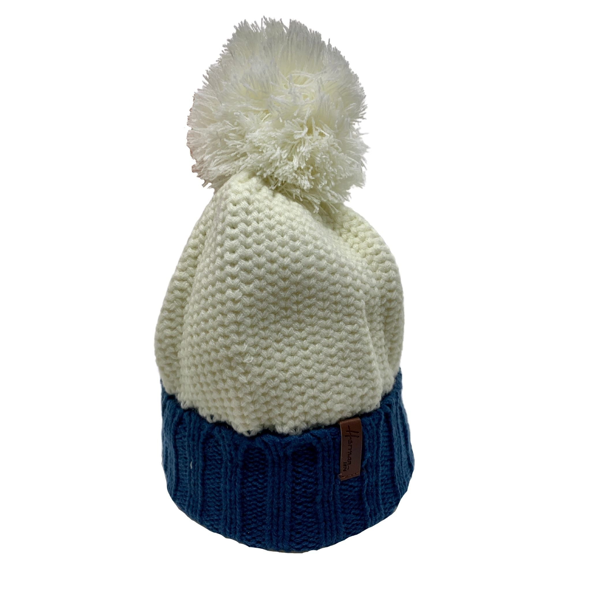 Two Tone Recycled Knit Pom Beanie - shop idPearl