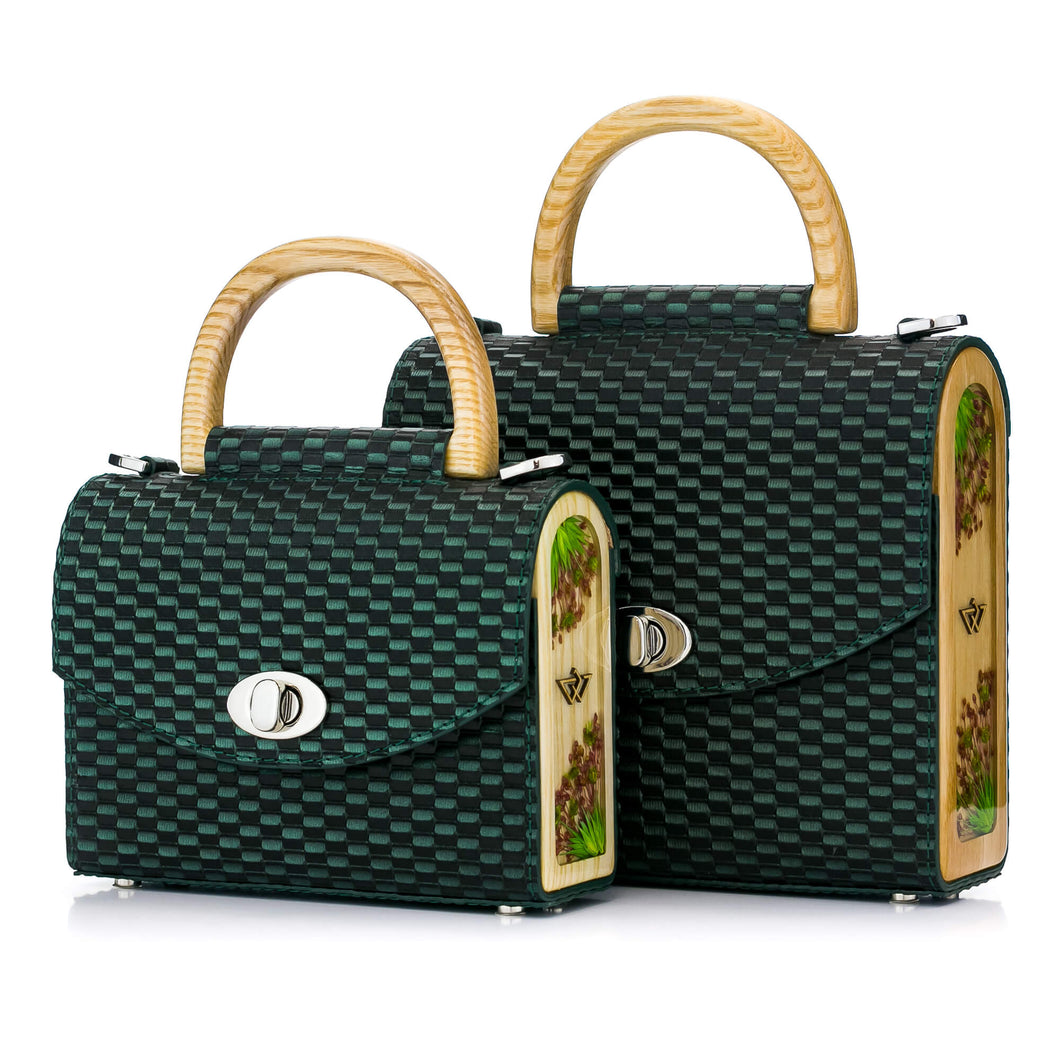 Green Woven Pattern Leather Bag Aurora - MY-SOUT