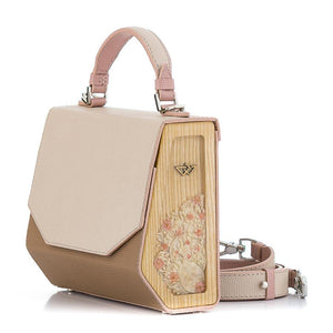 Beige & Cappuccino Saffiano Leather Bag Fjord - MY-SOUT